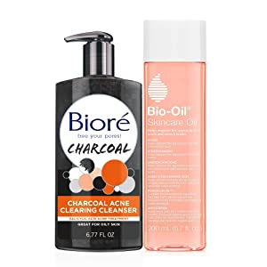 Bio-Oil Skincare Oil (4.2 oz), Body Oil for Scars & Stretchmarks, Non-Greasy Serum Hydrates Ski, Bioré Charcoal Acne Clearing Face Wash (6.77 oz), 1% Salicylic Acid Acne Treatment, for Oily Skin