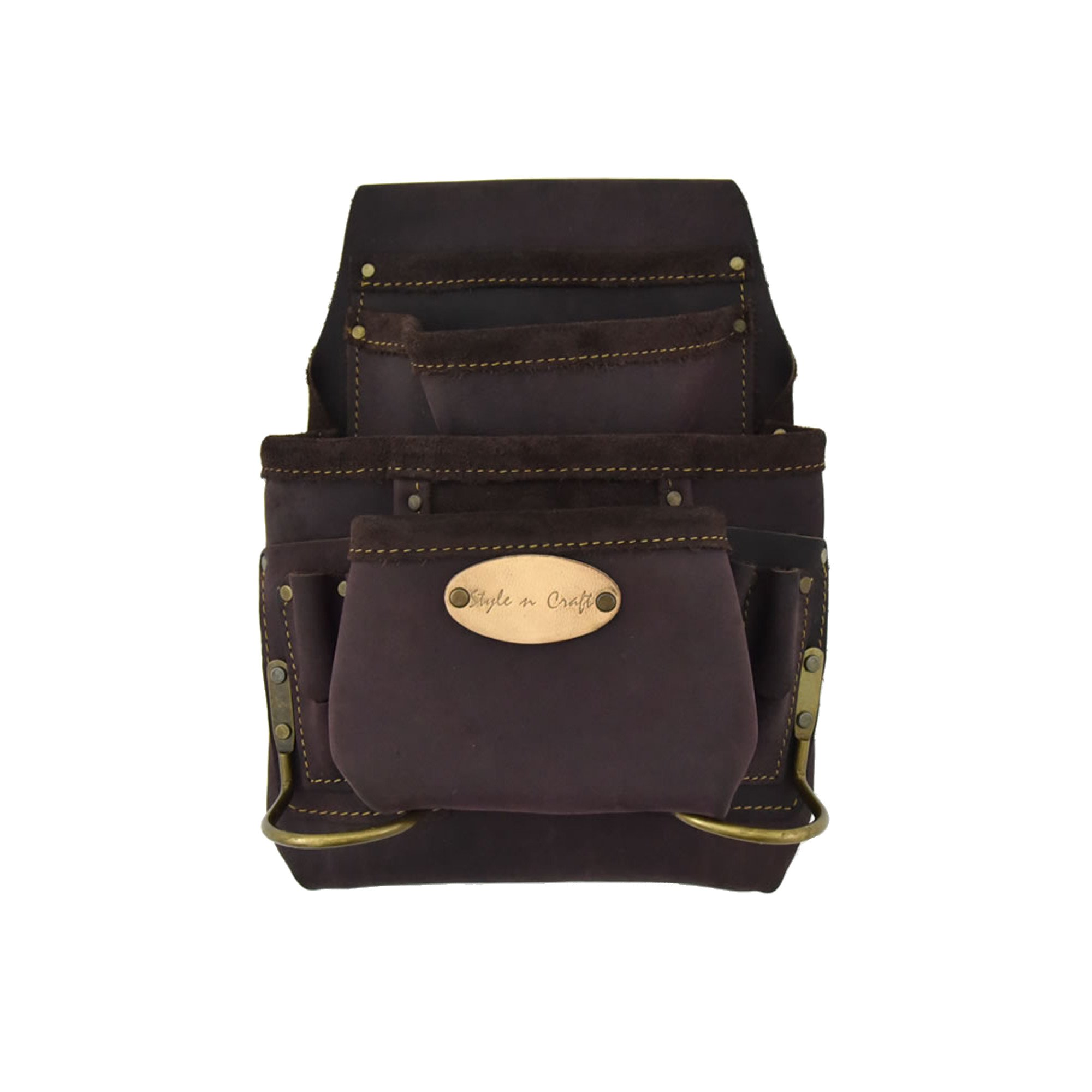 Style n Craft 90-923 10 Pocket Nail and Tool Pouch With 2 Hammer Holders in Oiled Top Grain Leather