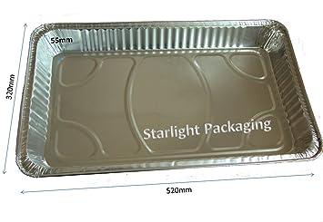 50 unidades tamaño completo Gastronorm bandejas de aluminio 520 x 320 x 55 mm