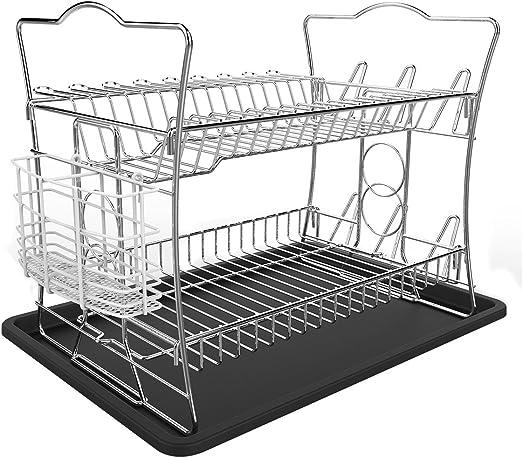 Amazon Com Izlif 2 Tier Chrome Finish Dish Drying Rack Set And