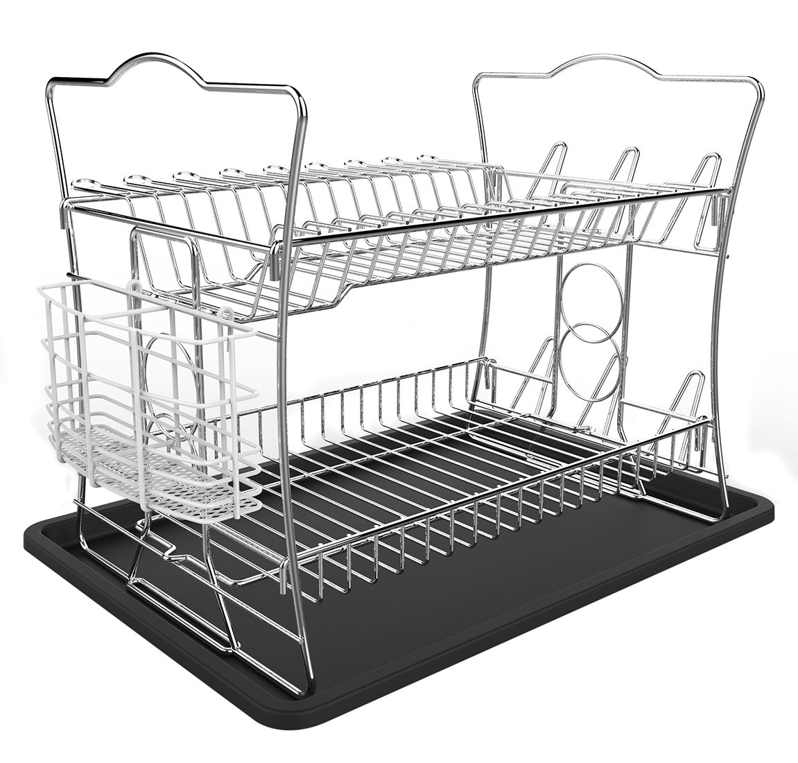 IZLIF 2-Tier Chrome Finish Dish Drying Rack Set and Drainboard with Removable White Utensil Holder Baike DR-301