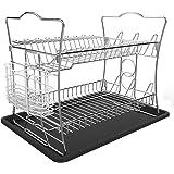 IZLIF 2-Tier Dish Drying Rack Set with Drainboard Removable White Utensil Holder,Chrome Finish