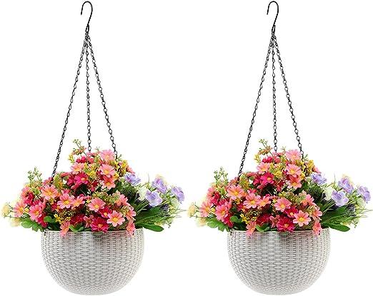 2-Pack Hanging Wooden Planter Basket Flower Plant Garden Patio Porch Pot Decor