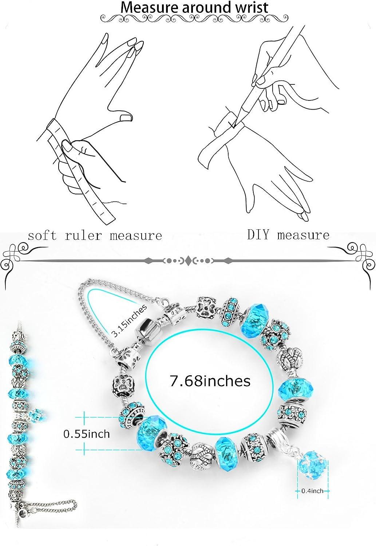 tallada a mano en plata de ley y chapada en plata Pulsera de Abalorios TONVER Pulseras de Cadena elegantes para mujer.