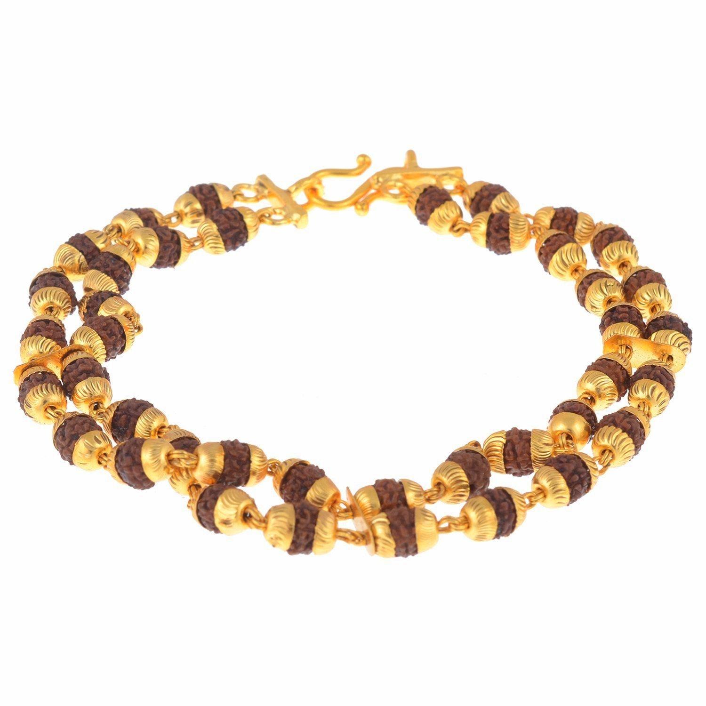 Buy The Jewelbox Dual Line Rudraksh Gold Plated bracelet for Men ...