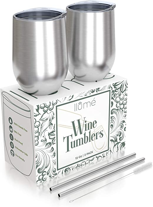 llumé Double Wall, Insulated, 2 12oz Stainless Steel Wine Tumbler with Lid, Straw, Cleaner Set- Dishwasher Safe Cups, For Hot/Cold Drinks, Coffee, Cocktail - Housewarming, Bridal Shower Gift