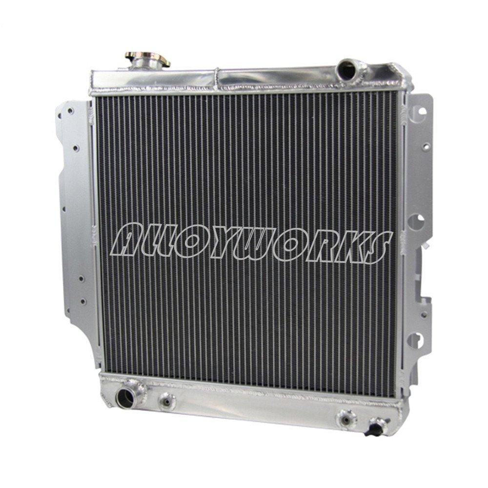 ALLOYWORKS 3 Row Core Full Aluminum Radiator for Jeep Wrangler YJ TJ 2.4L & 2.5L & 4.0L & 4.2L 1987-2006 (Silver)