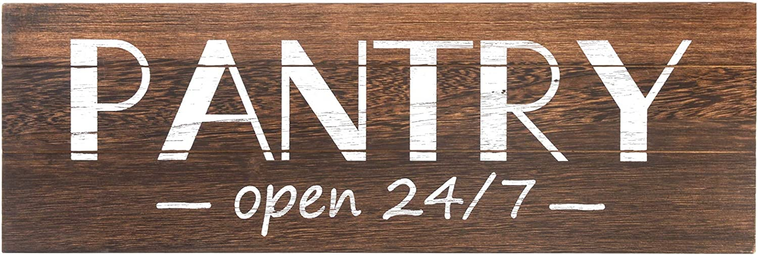 Soyo Hanging Wall Sign Rustic Wooden Wall Sign (Pantry Open 24/7) Wood Wall Decoration,Brown