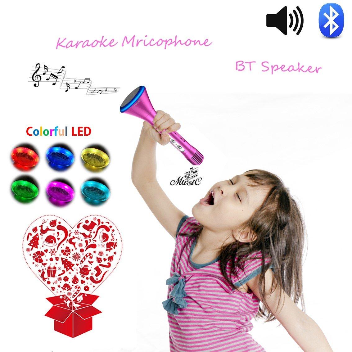 Altavoz Con Microfono Karaoke Para Niños, Chicas Juguetes de Micrófono, Máquina de Canto Infantil Inalámbrica Bluetooth, Equipo de Canto de Fiesta Al Aire Libre Con Diseño de Princesa, Juegos de Baile de Familia Cantando Regalos, Juguetes Electrónicos Crea