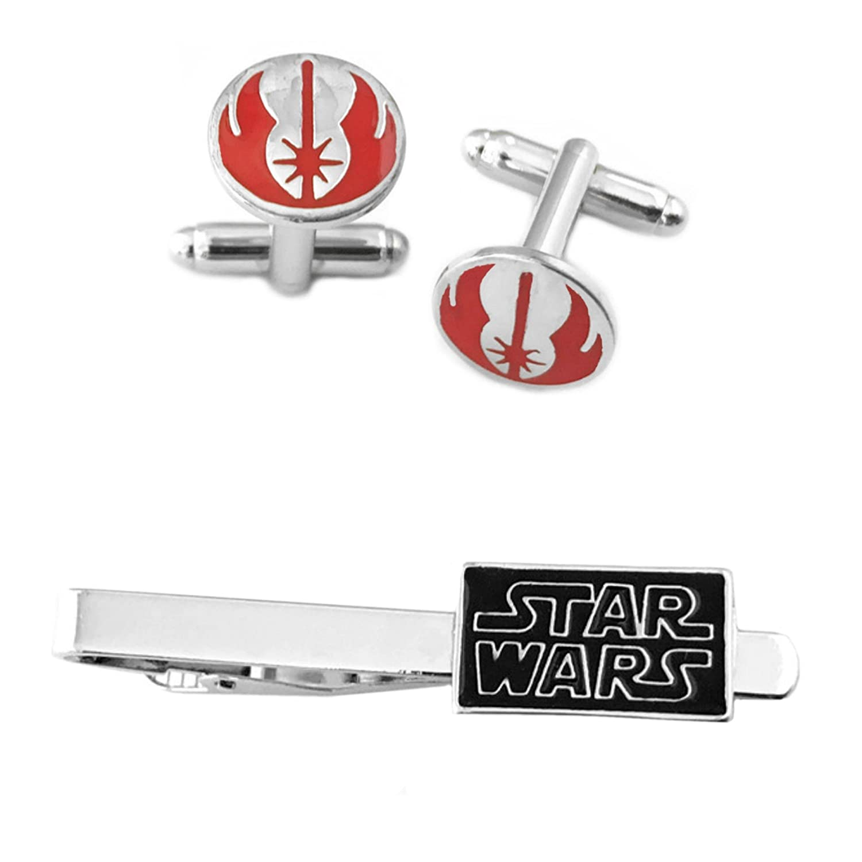 Jedi Red Cufflink & Text Tiebar - New 2018 Star Wars Movies - Set of 2 Gift Set Wedding Logo Novelty Jewelry Series w/Gift Box