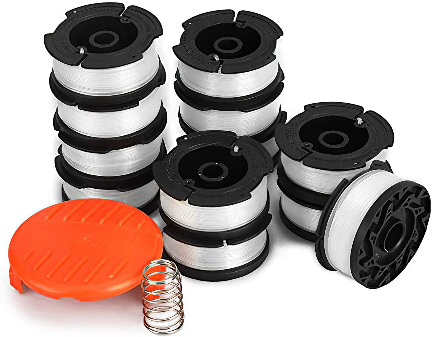Trimmer Spool 4 Pack /& Cap /& Spring Replacement For Black /& Decker GH500 ST7000