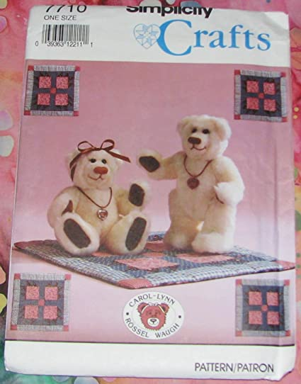 """Simplicity 7710 sewing pattern makes 8 5"""" stuffed Bear and Mini Bear Claw  Quilt OOP"""