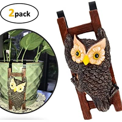 Flower Pot - Hugger Figurine - Owl (2 Pcs) Garden Decor - Get All The Fun Collections of Pot Pal Climbers - Hanging Planter Decorations - Patio Decor - Yard Decor : Garden & Outdoor