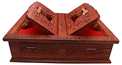 Beyond Collection Wooden Hand Carved Holy Book Stand and Box for Quran,Bible,Gita,Ved,Guru Granth Sahib