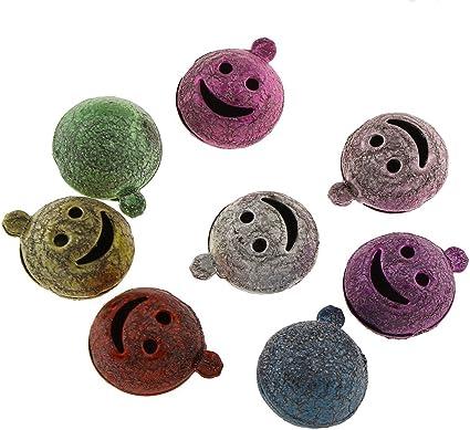 10 Metall Glocken Schellen Stardust Smiley-Gesicht Bunt 14mm Mini Anhänger R254