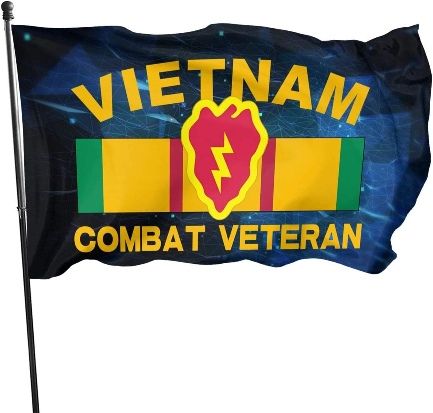 Ximengabc US Army Vietnam Veteran Ribbon with 25th Infantry Flag 3x5 Foot Flag Outdoor 100% Single-Layer Translucent Polyester 3'x5' Ft Banner for Garden Home