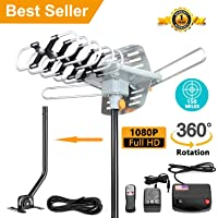 [Upgraded 2018] Amplified HD Digital TV Antenna - Outdoor HDTV Antenna 150 Mile Range Motorized with Adjustable Antenna Mount Pole for 2 TVs Support UHF/VHF/1080P Remote Control -33' Coax Cable