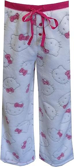 eab5e73a1 Amazon.com: Hello Kitty Women's Faces White Fleece Capri Lounge ...