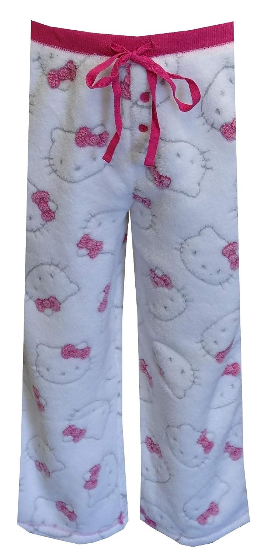 930bbe1a7 Amazon.com: Hello Kitty Women's Faces White Fleece Capri Lounge Pants  (Large): Clothing