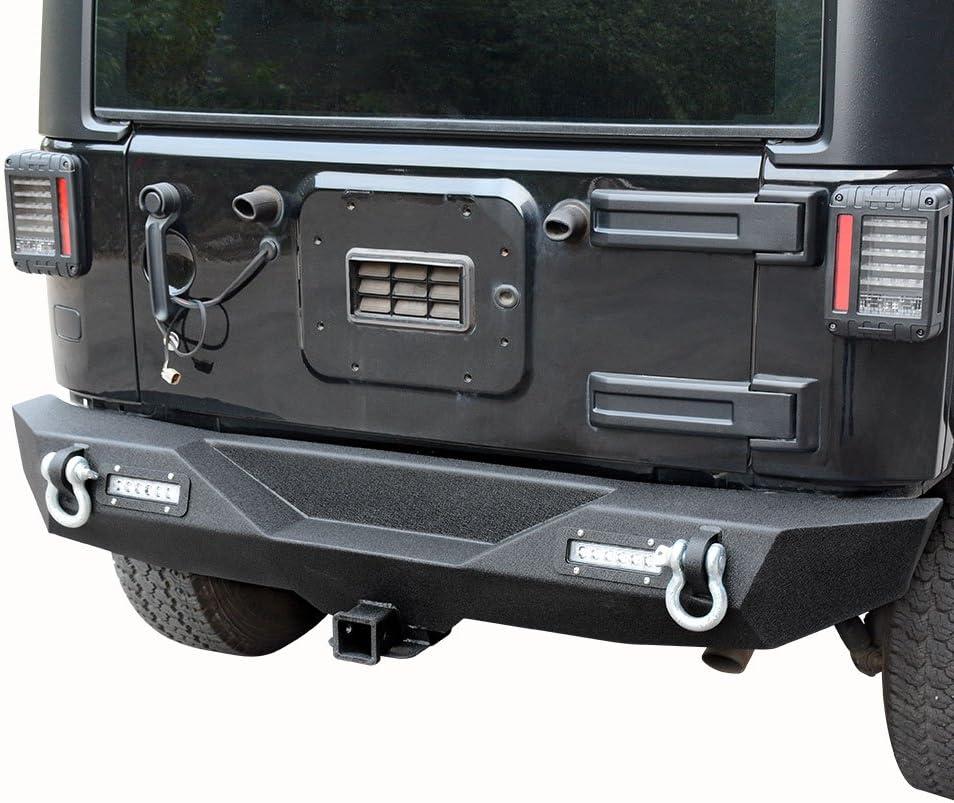 LEDKINGDOMUS Rear Bumper for 07-18 Jeep Wrangler JK and JK Unlimited with 2x LED Lights /& 2 Hitch Receiver Textured Black