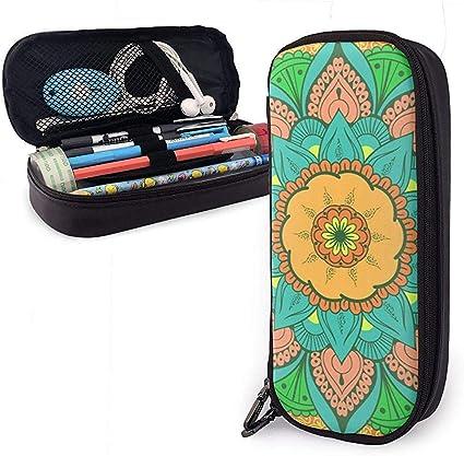 Étnico con motivos florales Estuche de lápices de cuero de PU lindo 20X9X4cm Bolsa con cremallera doble Bolsa de lápices para oficina escolar Niñas Niños Adultos: Amazon.es: Oficina y papelería