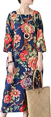 Yesno JX6 Women Loose Long Retro Floral Dress 100% Cotton Square Neck 3/4 Bat-wing Sleeve Side Split /Pocket