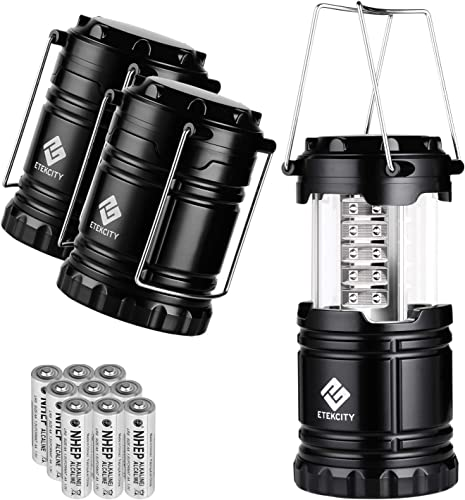 Etekcity Lantern Camping Lantern Battery Powered Lights for Power Outages, Home Emergency, Camping, Hiking, Hurricane, A Must Have Camping Accessories, Portable Lightweight, Batteries Included