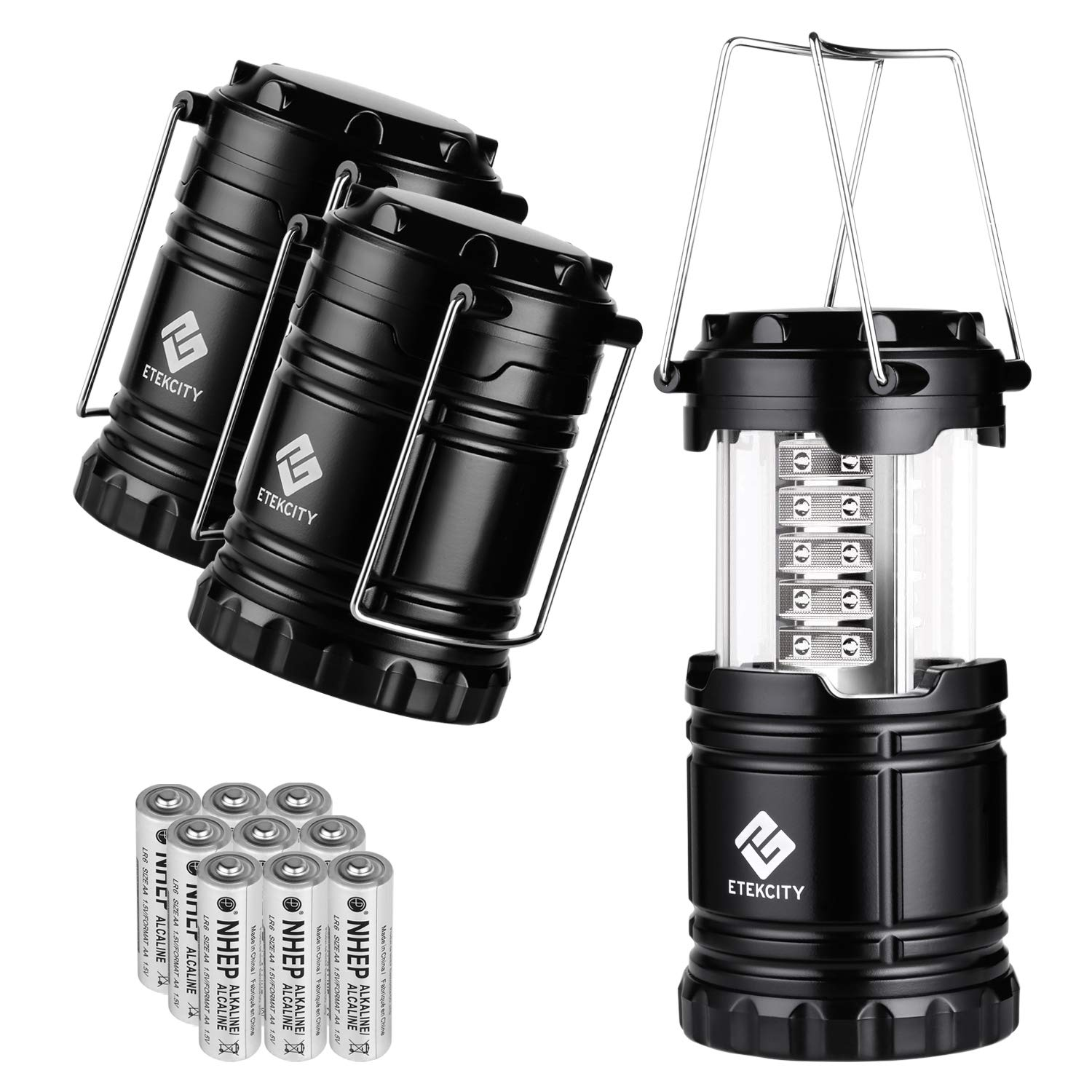 Etekcity LED Camping Lantern Portable Flashlight with AA Batteries - Survival Kit for Emergency, Hurricane, Power Outage, CL10 (Black, Collapsible) (3 Pack) by Etekcity