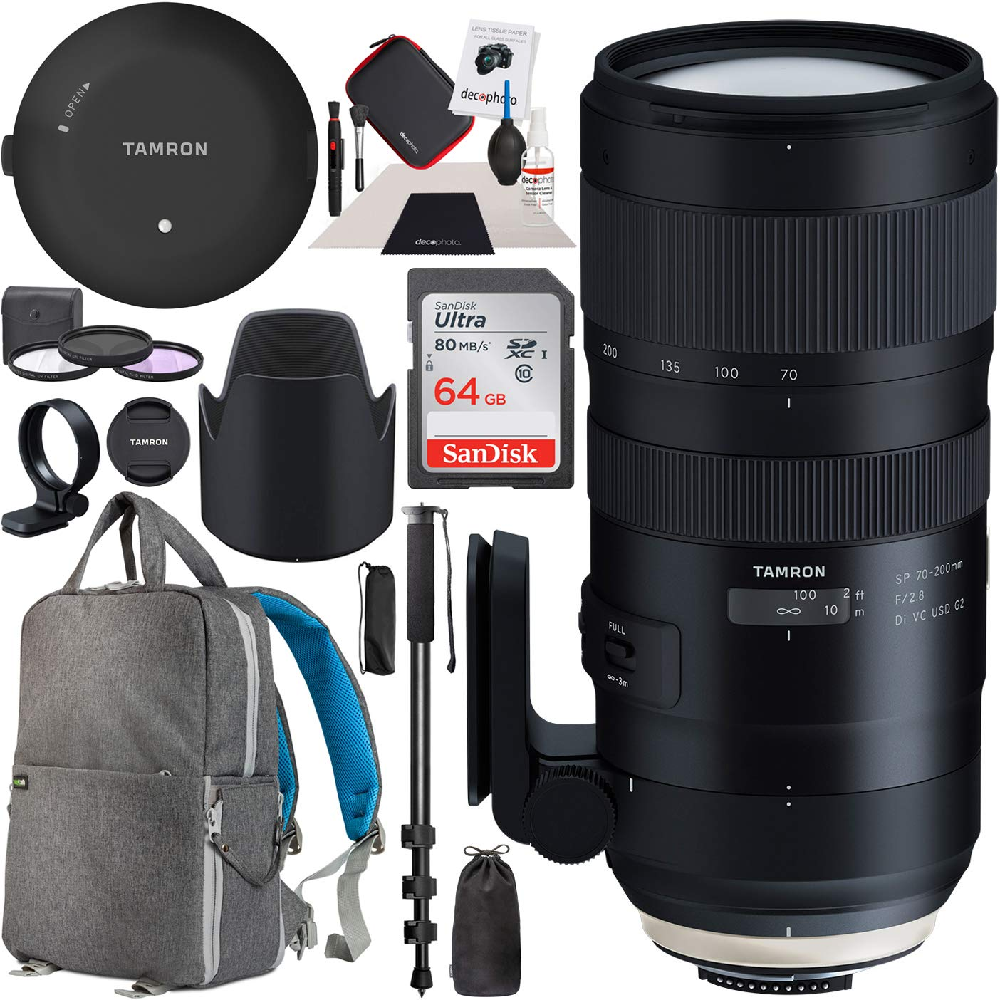 Tamron SP 70-200mm F/2.8 Di VC USD G2 Lens for Canon EF Mount AFA025C-700 TAP-in Console + 77mm Deluxe Filter Kit and Deco Gear Photography Backpack Pro Bundle by Tamron
