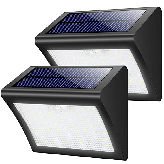 Luces Solares Jardín, 60LED Focos Solares 1800mAh Lámparas Solares Exterior con Sensor de Movimiento, Luz de Pared Solar Segura Impermeables con 3 ...
