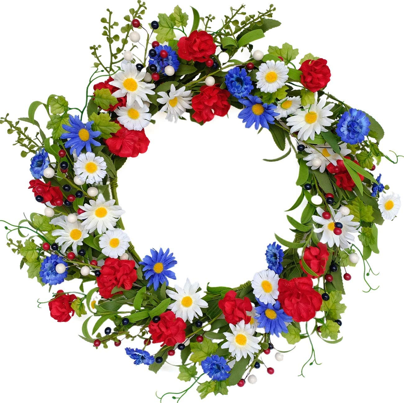 Bibelot 20 inches Red White Blue Artificial Floral Twig Wreath American Flag Floral Wreath Patriotic Decorations Wreath 4th of July Independence Day Memorial Day Flag Day Hanging Decoration