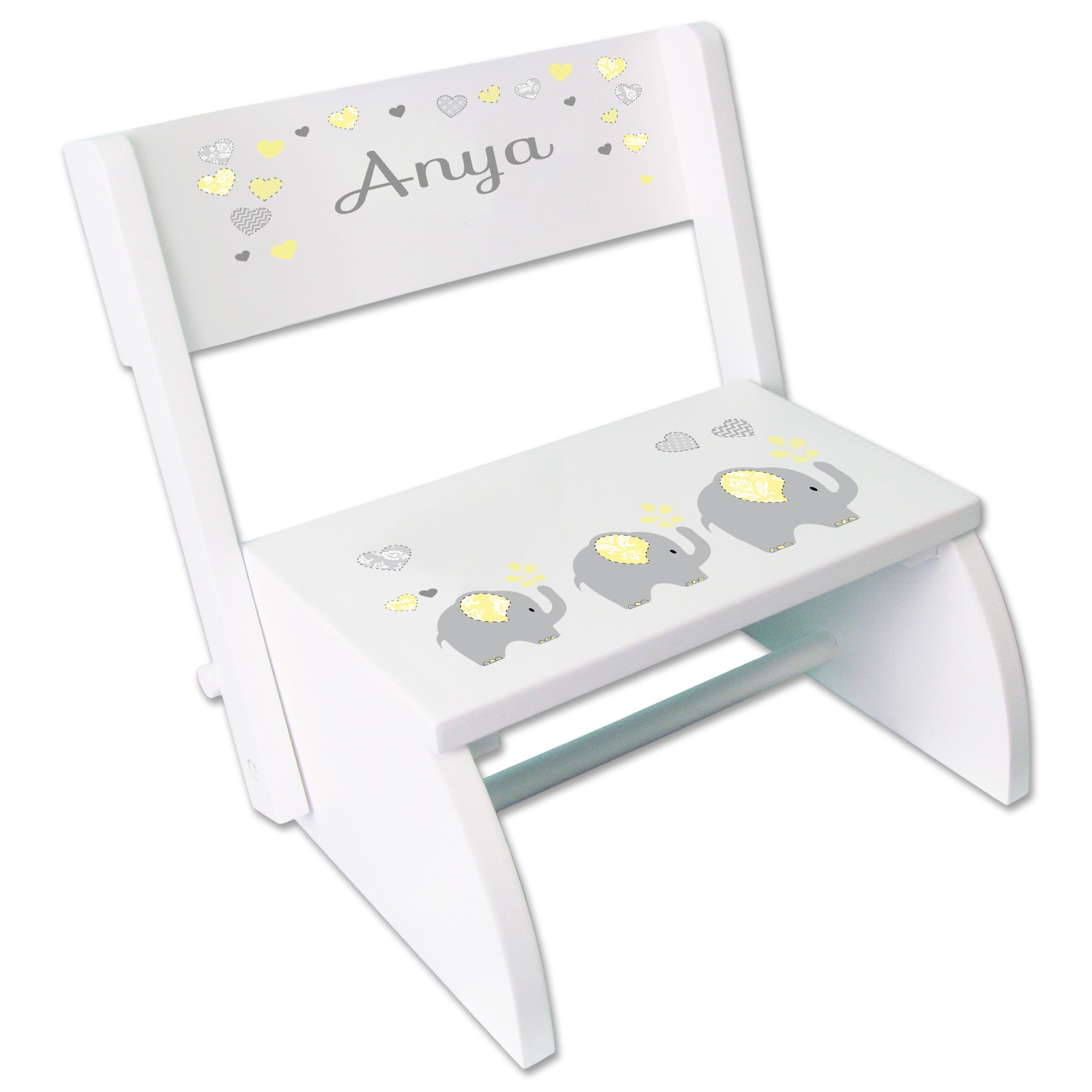Personalized Yellow Elephants Childrens and Toddlers White folding stool