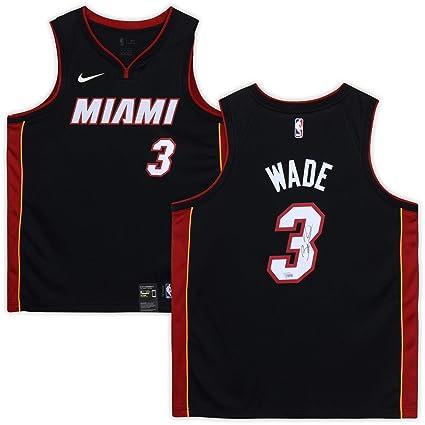 new style ba375 dfec0 Dwyane Wade Miami Heat Autographed Black Nike Swingman ...