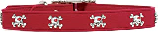 product image for Rockin Doggie Skull Rivets Leather Dog Collar, 1 by 22-Inch, Red