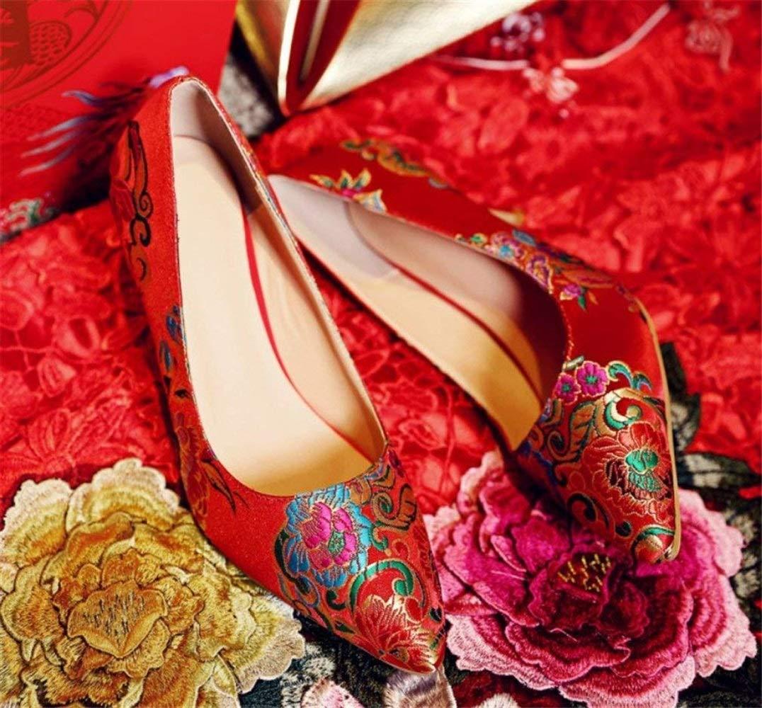 High Heels, Peep Frauen Sandalen Strass Peep Heels, Toe Pumps Satin Braut Party Court rot Schuhe, EU37-EU42 (Farbe   A, Größe   EU40) f68a76
