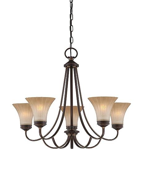Amazon.com: Quoizel alz5005pn Aliza Cadena de 5 luz Hung ...