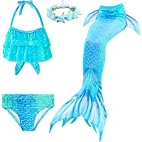 LAO&HAI Girls Mermaid Tail for Swimming and Flower Headband 4 Piece
