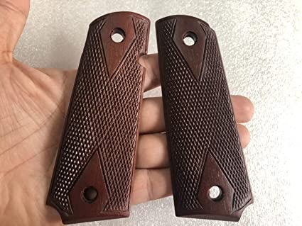 NEW CHECKERED HARDWOOD GRIP FOR COLT GOVERMENT 1911 FULL SIZE KIMBER CLONES