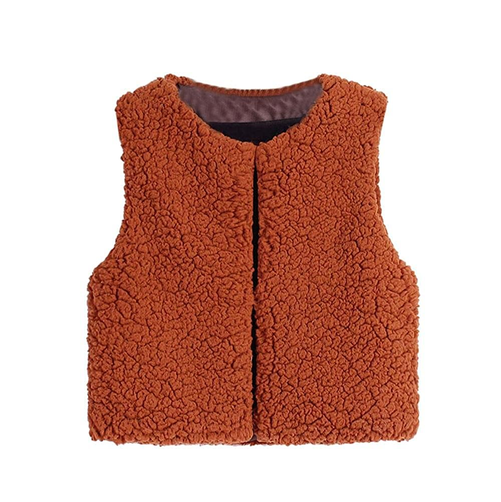 Baby Girl Warm Waistcoat, Cute Kid Autumn Winter Faux Cashmere Sleeveless Vest