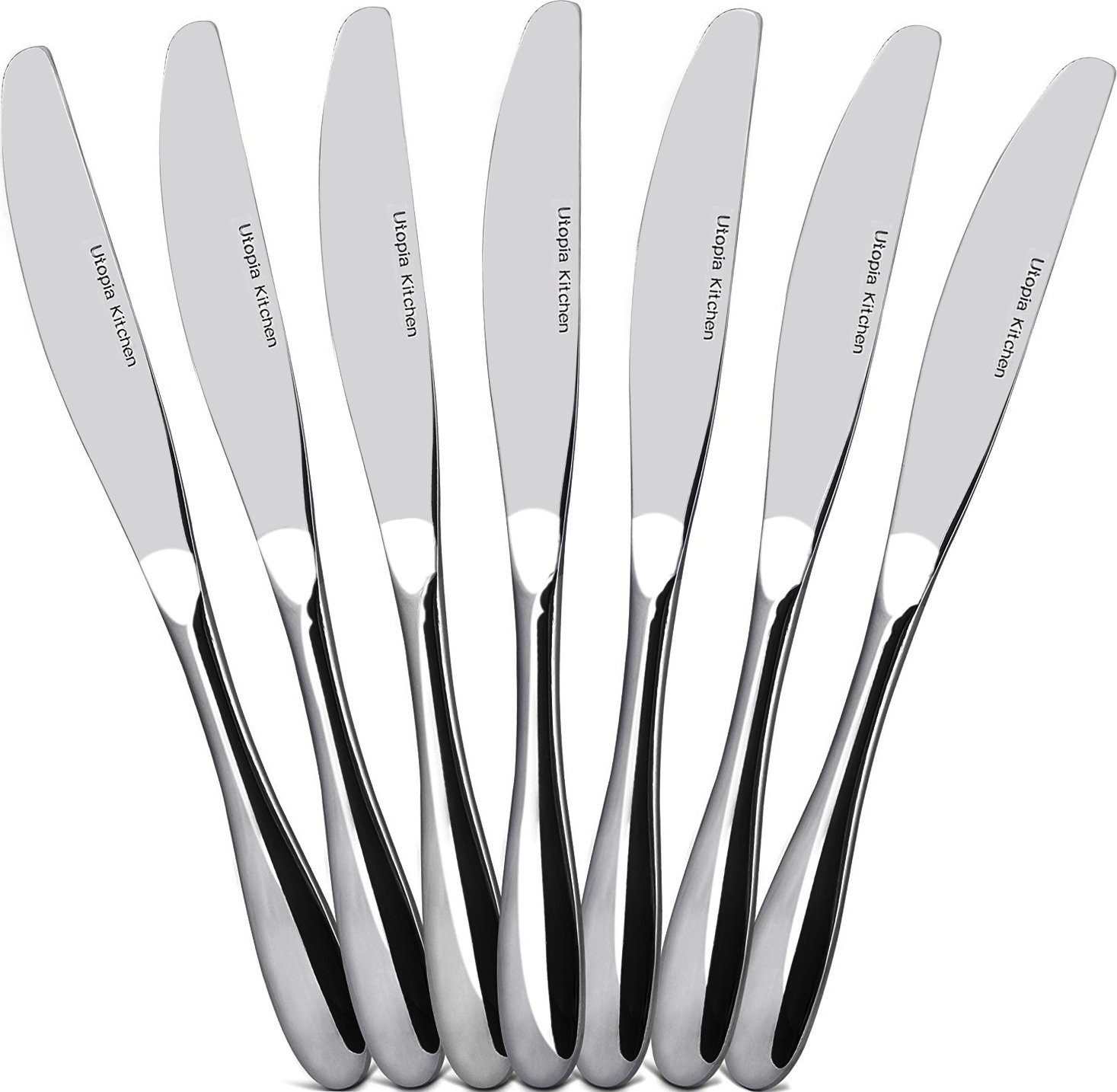 Utopia Kitchen 12 Piece Dinner Knife Flatware Set Stainless Steel Dinner Knives