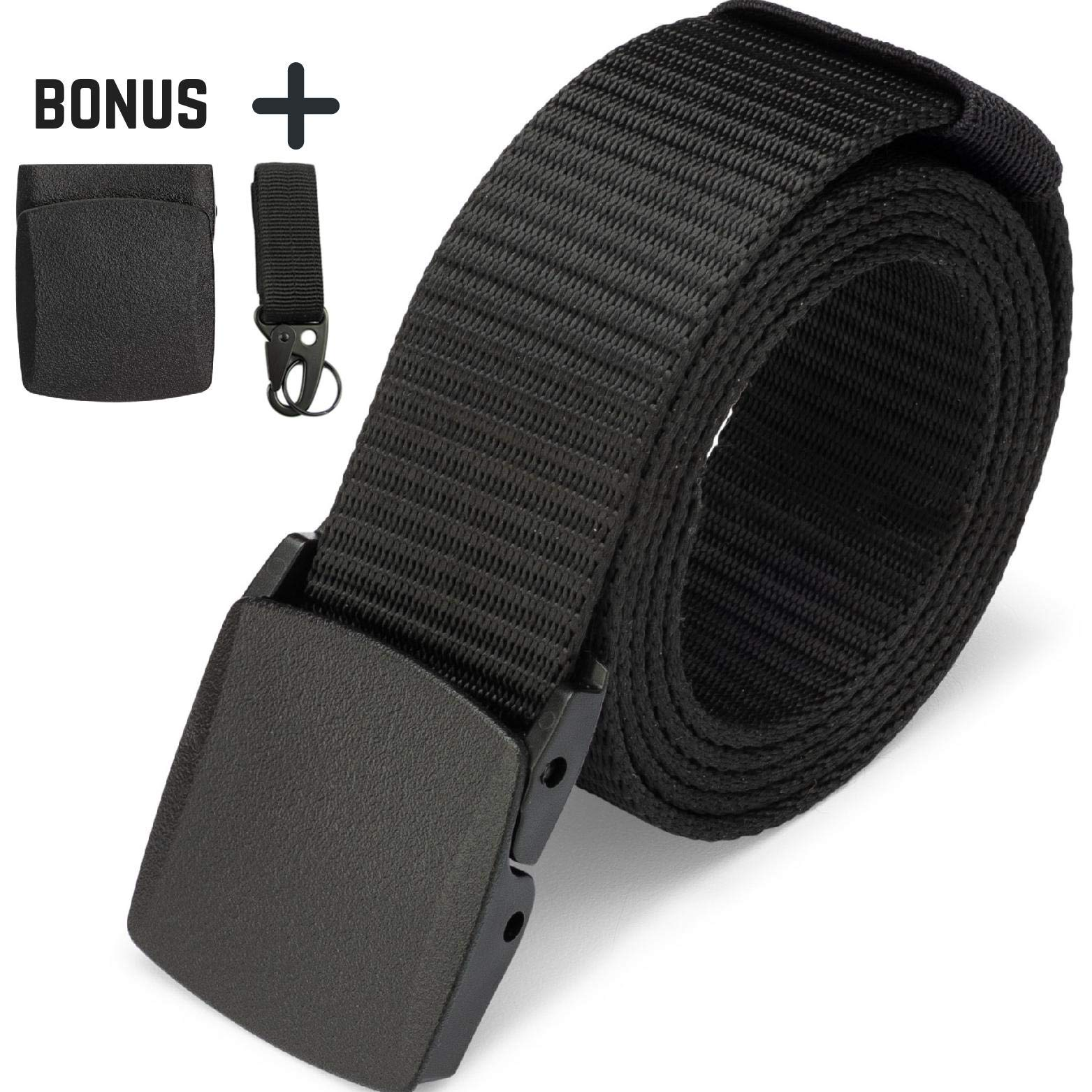 Dragon Ninja Tactical Belt Nylon Web Canvas Webbing Adjustable Waterproof Military Web style with Two YKK Buckles and Heavy Duty Keychain Key ring