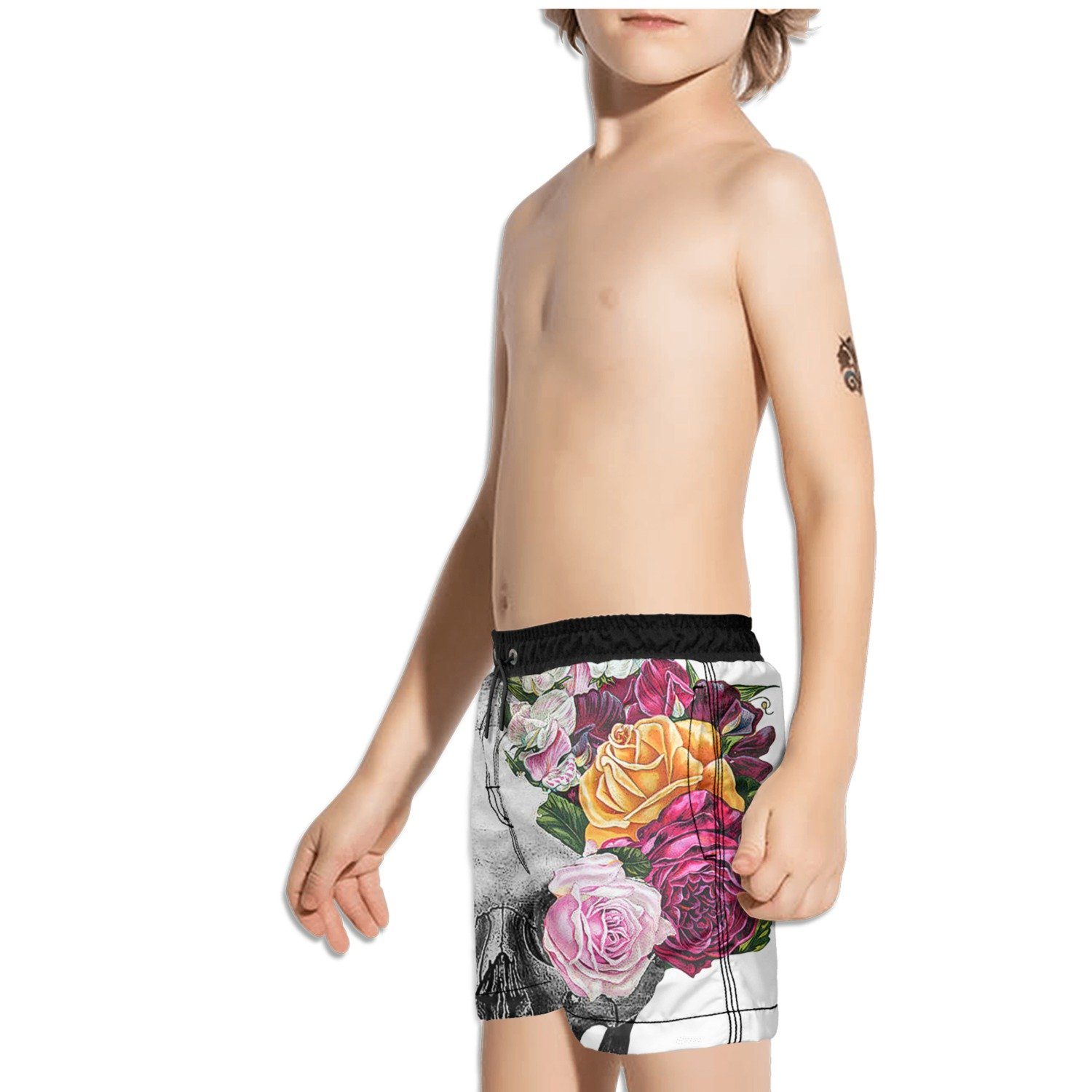 Ouxioaz Boys Swim Trunk Vintage Skull and Roses Beach Board Shorts