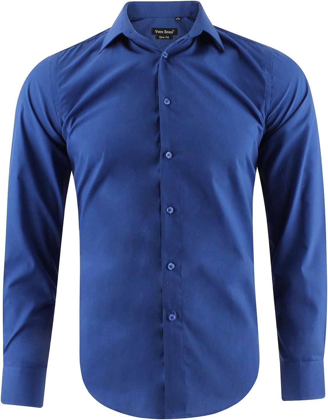 Camisa Slim fit Azul para Hombre con Manga Larga Shirt Talla M: Amazon.es: Ropa y accesorios