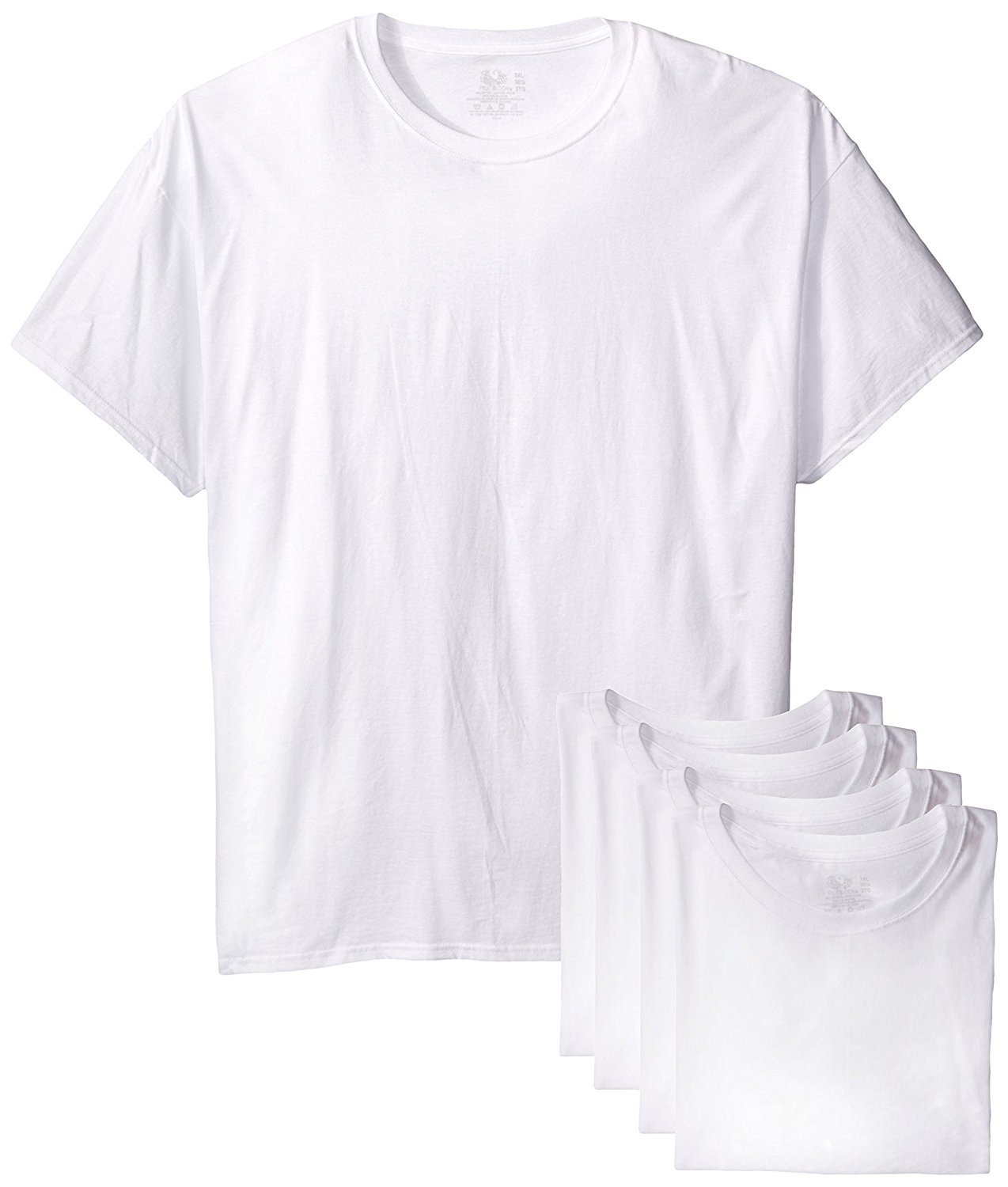 Fruit of the Loom Men's Stay Tucked Crew T-Shirt (White, 4X-Large)