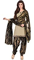 EthnicJunction Women's Cotton Patiala Style Unstitched Dress Material (EJ1110-103_Beige And Black)