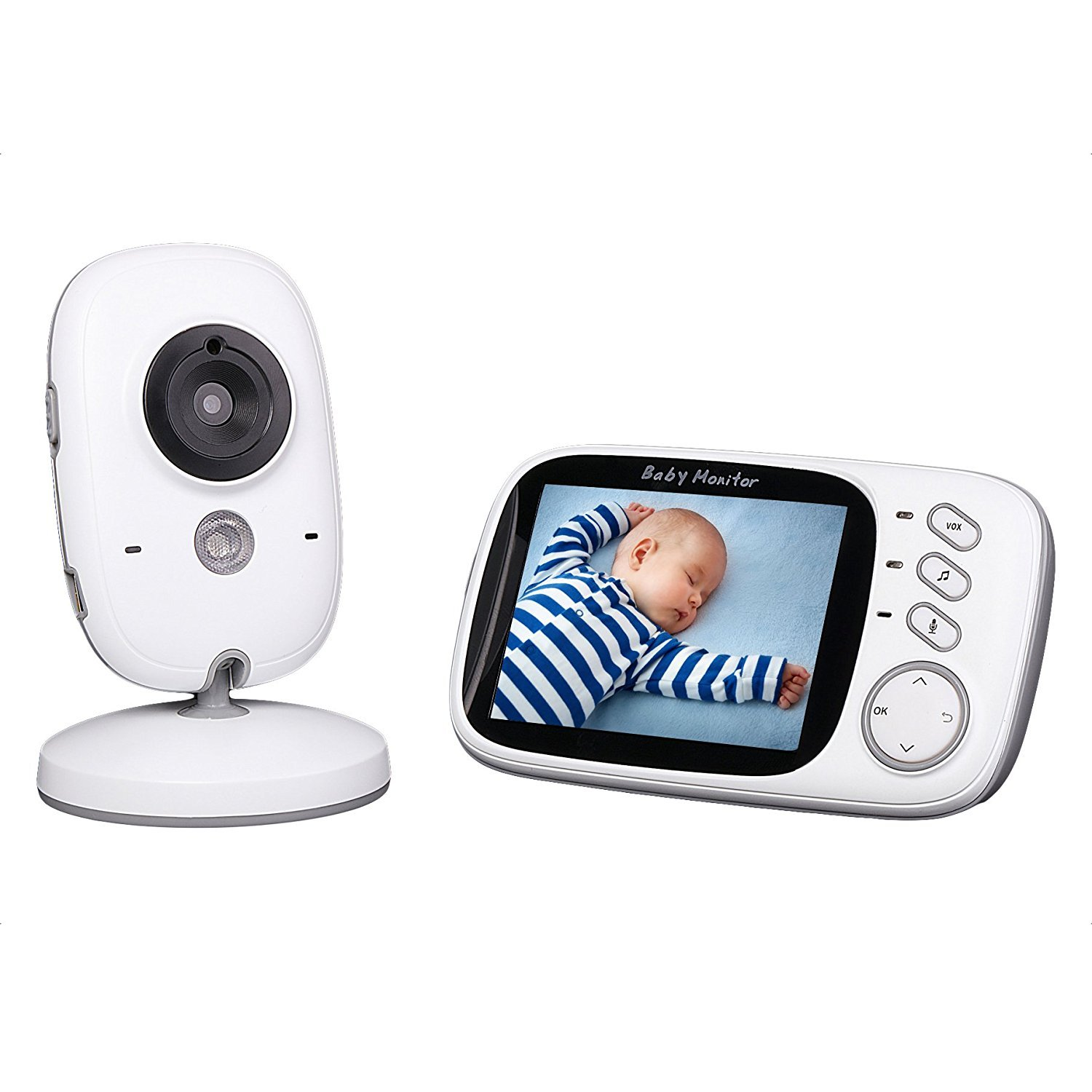 Baby Monitor, 3.2'' LCD Display Babyphone Camera Digital Audio Video con Citofono Visione Notturna Monitoraggio Temperatura 8 Ninnananne per Bambini Videosorveglianza Sicurezza Talent Star