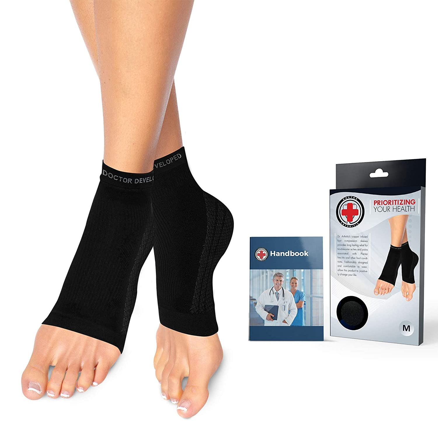 Doctor Developed Copper Infused Foot Compression Sleeves/Plantar Fasciitis  Socks [PAIR] and Doctor Written Handbook