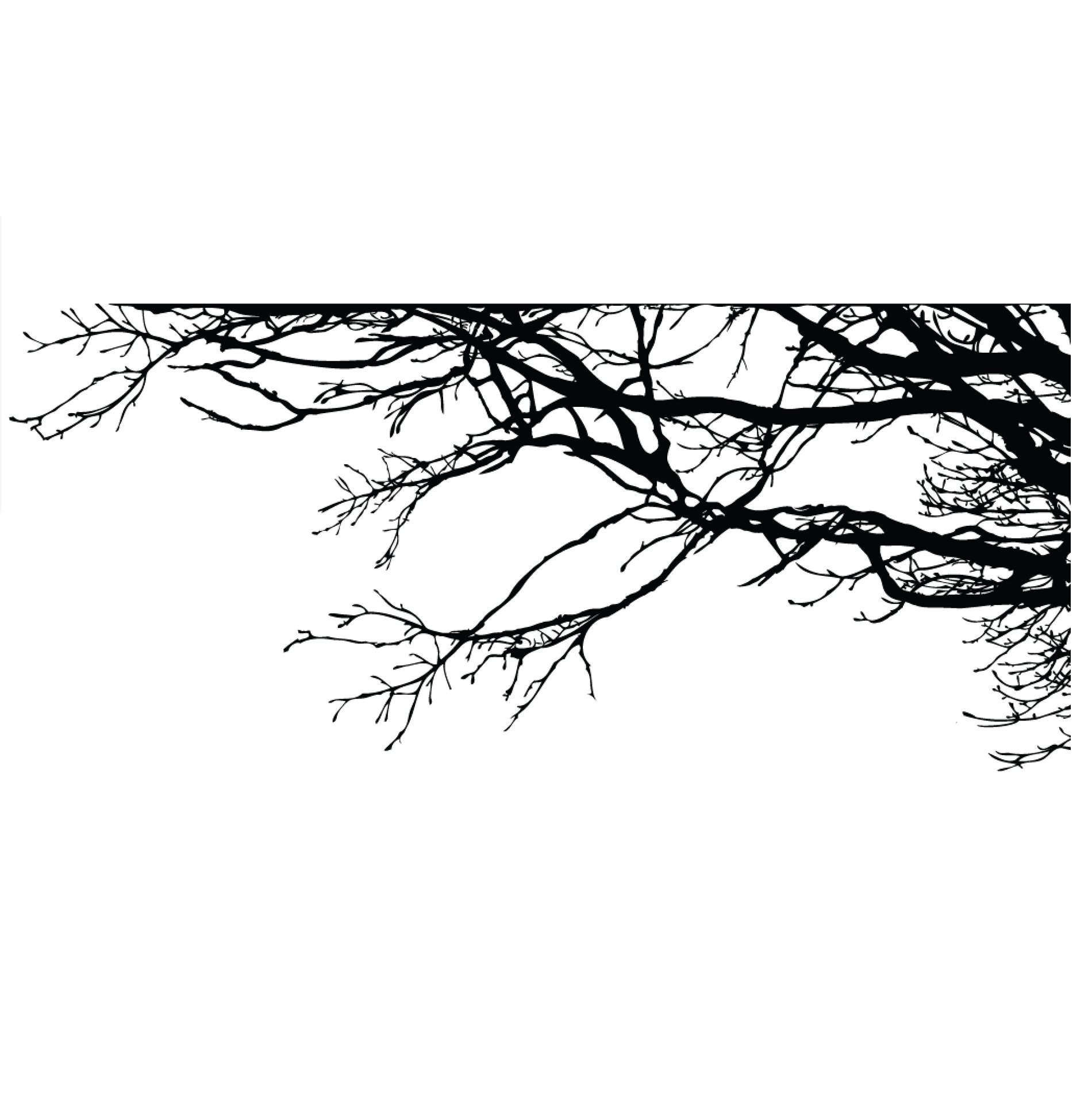 Large Tree Wall Decal Sticker - Semi-Gloss Black Tree Branches, 44in X 100in, Right to Left. Removable, No Paint Needed, Tree Branch Wall Stencil The Easy Way.