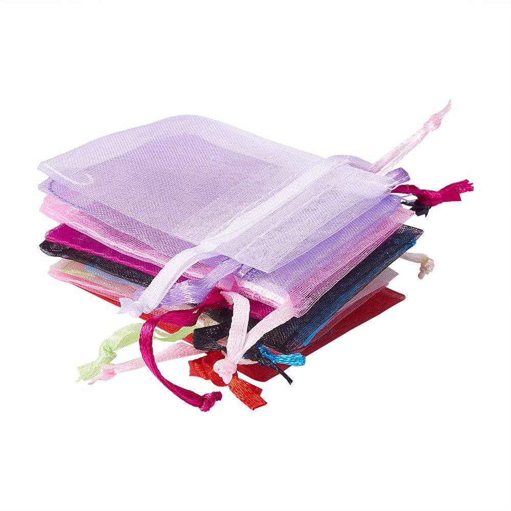 Lot de 100pcs Sachets Pochettes Cadeau en Organza 7x5x0.2cm Mixte Couleur PandaHall