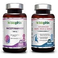 Nicotinamide 500 mg 100 Caps Plus Hair Skin and Nails 180 Caplets Skin Kit 10,000...